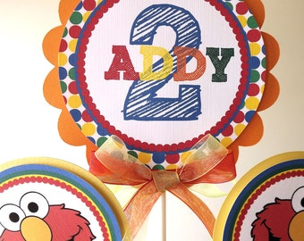 Elmo Inspired Collection: 3 Piece Centerpiece -Birthday -Baby Shower -Colorful-Table Decoration -Candy Dessert Table