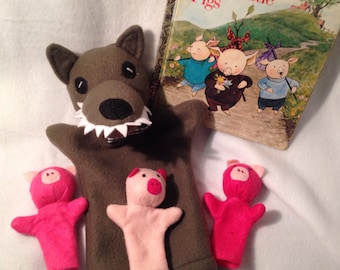 Big Bad Wolf and the Three Little Pigs puppets