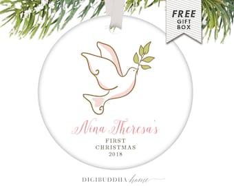 Baby Girl First Christmas Ornament Christmas Peace Dove Girl Baby Ornament New Baby's First Christmas Baby's 1st Christmas Ornament Parents