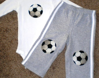 Knee Patch Pants with matching Soccer Bodysuit, Bodysuit, Toddler Clothing, Baby Boy Clothing, Photo Prop