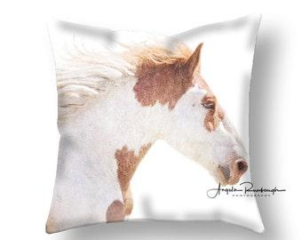 Throw pillow, pillow decor, Spun poly filled and sewn pillow, horse pillow, wild horse pillow