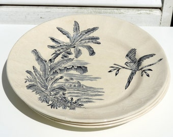 French Antique Transferware Plates/French Antique Longchamp Transferware Plate/French Ironstone Transferware/Vintage Plate