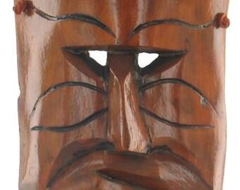 """Vintage Tiki Bar Surf Art Wood Mask Mid Century Hawaii Hawaiian God Heavy 17"""" H"""