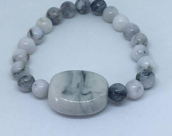 Smoky Gray Bead Stretch Bracelet