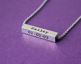 Personalized Horizontal 4 Sided Pewter Bar Necklace - Custom 4 Sided Horizontal Bar Necklace - Names Dates Bar Necklace - Name Date Jewelry