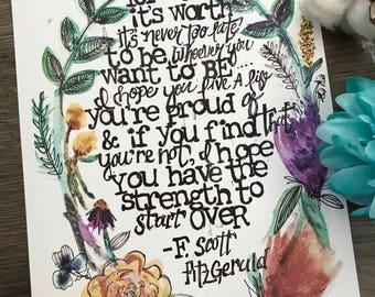 Wreath and F. Scott Fitzgerald Quote Watercolor Print
