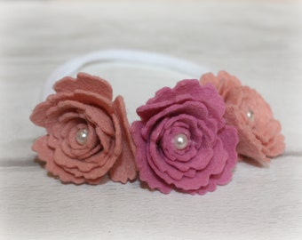 Pink and coral flower headband, baby headband, girl headband, flower headband, flower girl hair, wedding headband, wedding hair