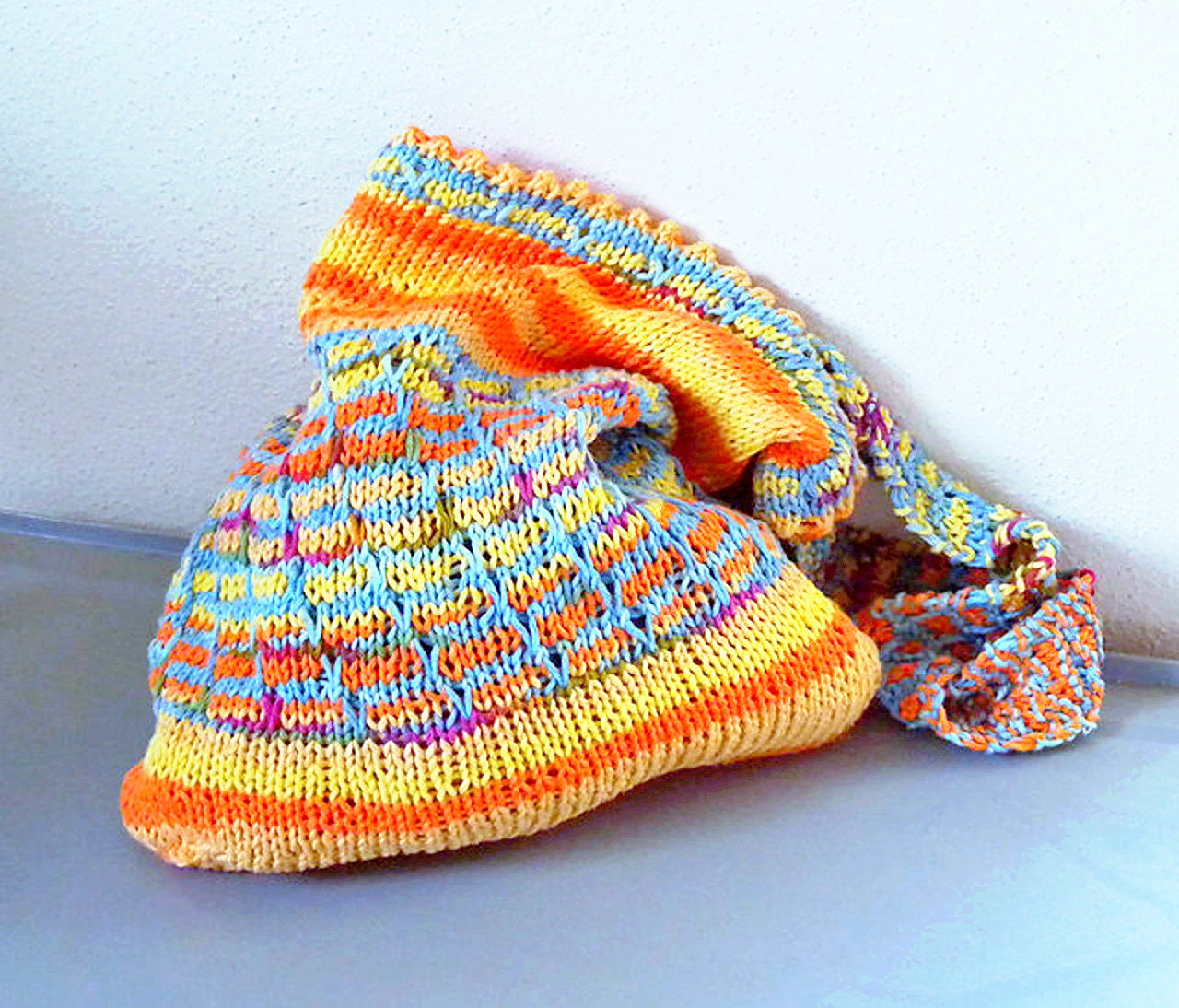 Market Bag Knitting Pattern, shopping bag, ecosensitive bag, two ...