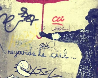 Red Umbrella Art, Graffiti Wall Art, Paris Photography, Paris France  8x10  French Home Decor, Wall Art, Graffiti Art