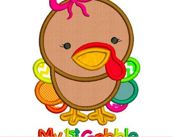 My FIRST GOBBLE Baby Girl Thanksgiving 4x4 5x7 6x10 Machine Embroidery Design  INSTANT Download