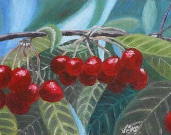 Original fruit oil painting - branch paint cherry red-Original oil painting - The cherry branch painting Red fruit