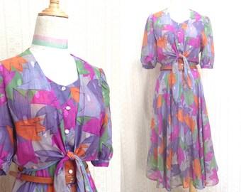 "Vintage dress S / M ""Shelia"" granny floral vintage dress, orange / green / purple layering midi dress, us size 8 10, cottage 80s clothing"