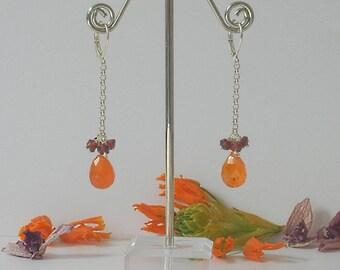 Joyful Light Natural Carnelian, Garnet and Silver Earrings, Orange Earrings, Gemstone Earrings, Dangle Earrings, Carnelian Earrings, Silver