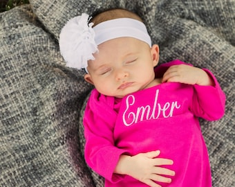 Monogrammed Baby Gown | Newborn Gown | Baby Girl Layette | Baby Shower Gift | Take Home Outfit | Infant Gown | Baby Girl Gown | Baby Gift