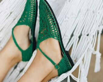 Emerald - Mary Jane Crochet Shoes made with Hemp Yarn