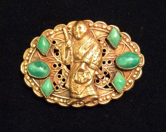 Vintage 1940's Czech Peking Glass Buddhist Monk Pin 1.50""