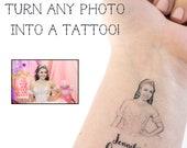 Quinseañera Tattoo, Sweet 16 Tattoo, Birthday Party Tattoo, Photo Tattoo, Custom Tattoo, Party Favor, Birthday Tattoo, Party Tattoo