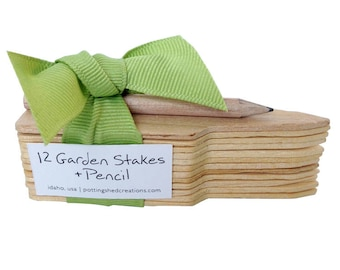 Garden Stakes and Pencil - Garden Markers - Planting Marker - Plant Stakes - Gardening - Gifts for Mom - Mother's Day - Mom Gifts - Planting