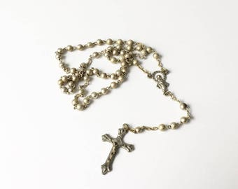 Rosary Beads Cross Necklace Catholic Jewelry Holy Rosary Beads Metal beads Italy