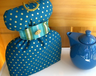 Teal Gold Sparkles Tea Cozy, Teal and Gold Sparkle Dots Topknot Tea Cozy with Sash, Contemporary Tea Cozy