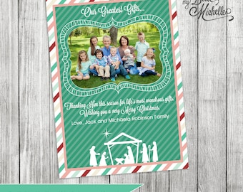 Personalized Nativity Photo Christmas Card - You Print Digital File