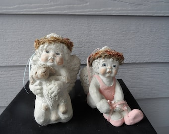 Vintage Signed 1993 Dreamsicles By Kristin Angel Figurines Angel Holding Lamb and Angel in Pink Ballet Leotard Tying Ballet Slippers  1408