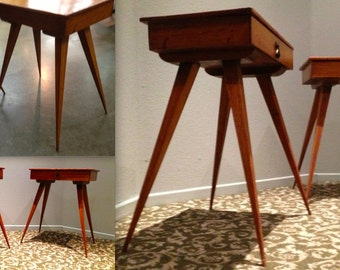 MID CENTURY MODERN Danish Wood Toothpick Leg Scissor Sculptural Table with drawers Adrian Pearsal Kofod Larsen Eames Herman Miller Knoll