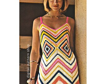 Womens Crochet Dress Pattern Vintage Chevron Maxi Dress Crochet Pattern Zig Zag Dress PDF Instant Download- C89