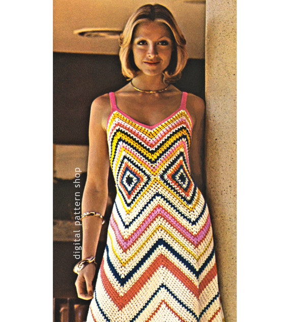 Womens Crochet Dress Pattern Vintage Chevron Maxi Dress Crochet