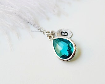 Personalized See blue Stone Necklace, See blue Necklace, Initial Necklace, Bridesmaid Gifts, Maid of Honor Gift, wedding gift, gift ideas