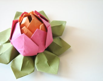 Bright Origami Lotus Flower - handmade paper flower - Pink, Orange and Moss Green - teen birthday, Mother's Day gift
