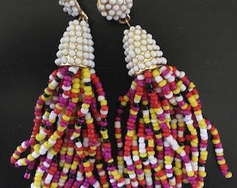 Multicolored Beaded Tassel Earrings