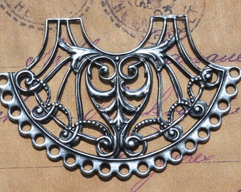 Bohemian Filigree Necklace, Sterling Silver finish, brass stampings and filigrees, made in the usa