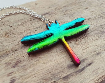 Dragonfly necklace dragonfly pendant necklace rainbow dragonfly insect necklace unique dragonfly necklace Dragon fly statement necklace