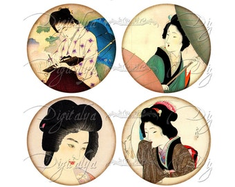 JAPANESE LADIES (1) Digital Collage Sheet - Circles 63mm for Pocket Mirror - Buy 3 Get 1 Extra Free- Instant Download