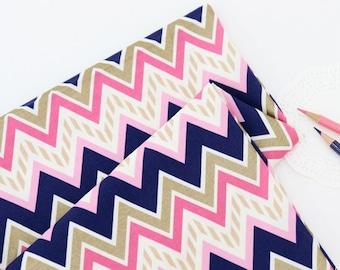Zigzag Geometric pattern, Cotton 100% fabric, by Yard