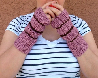 Chocolate Brown Striped Plum Wine, Dusky Rose Pink Fingerless Gloves for Women, Crochet Fingerless Gloves, Arm Warmers, Fingerless Mittens