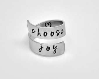choose joy ring, Friendship ring, affirmation ring, quote ring, stocking stuffer, unique gift ideas, gifts under 20, bff gift,spiritual gift