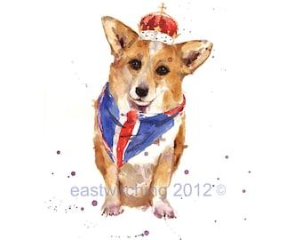 British Gifts, Welsh Corgi Print, corgi, red white blue, union jack