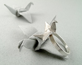 Origami Jewelry Silver Crane Ring Origami Crane Ring Origami Bird Ring