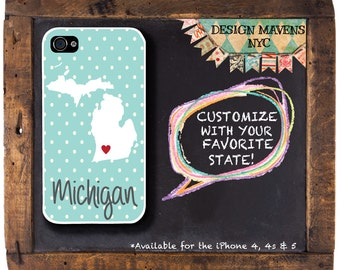Personalized iPhone Case, State Love Michigan iPhone Case, iPhone 4, iPhone 4s, iPhone 5, iPhone 5s, iPhone 5c, iPhone 6, Phone Cover