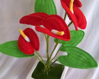 PDF Crochet anthurium Pattern - Flower Applique - Crochet Flower Pattern- Crochet bouquet pattern