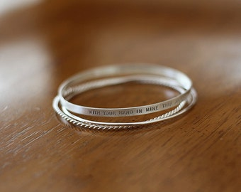 Sterling Silver Personalized Bangle Set (E0608)