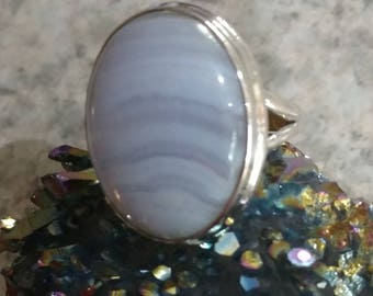 Blue Lace Agate Ring Size 6