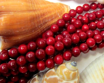 Red Coral beads red bamboo coral beads 5mm red beads 15 inch strand Q022 (G1G3)