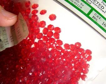 Vintage Saucer Shaped 6mm Red Transparent Plastic Faceted Beads
