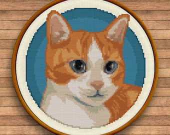 Cat Portrait Stitch - Sunny Cloud Studio - modern counted cross stitch pattern - instant download PDF