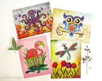 Postcard Set of 8 - Whimsical Fauna Set 2 - Owl, Dragonfly, Flamingo, Octopus