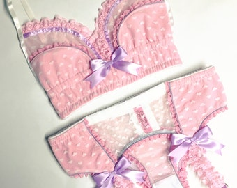 White Heart Mesh with Pink & Lilac Accents Garter Belt - Pick Your Size - Handmade Vegan Bridal