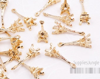 P356-02-GG// Glossy Gold Plated Paris Effel Tower Charms, 4pcs